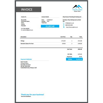 Bold lines and Colour ServiceM8 invoice