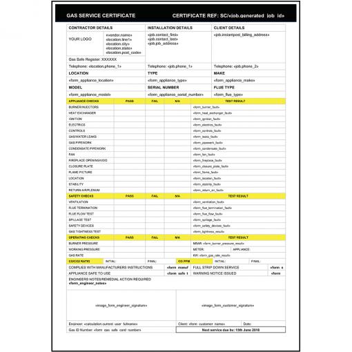 Gas Service Certificate