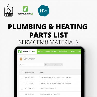 Plumbing and Heating parts list for ServiceM8