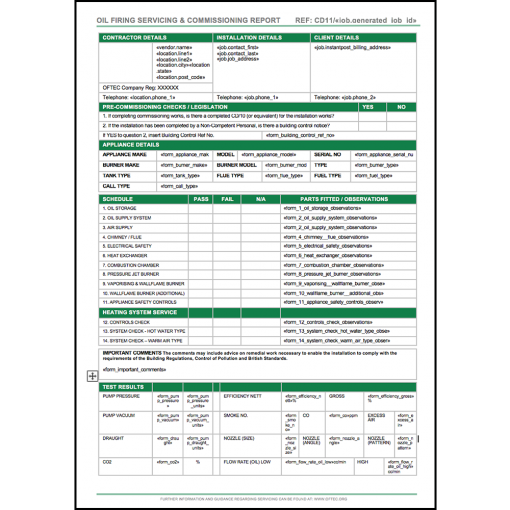 CD11 Form for Oil Boiler Engineers