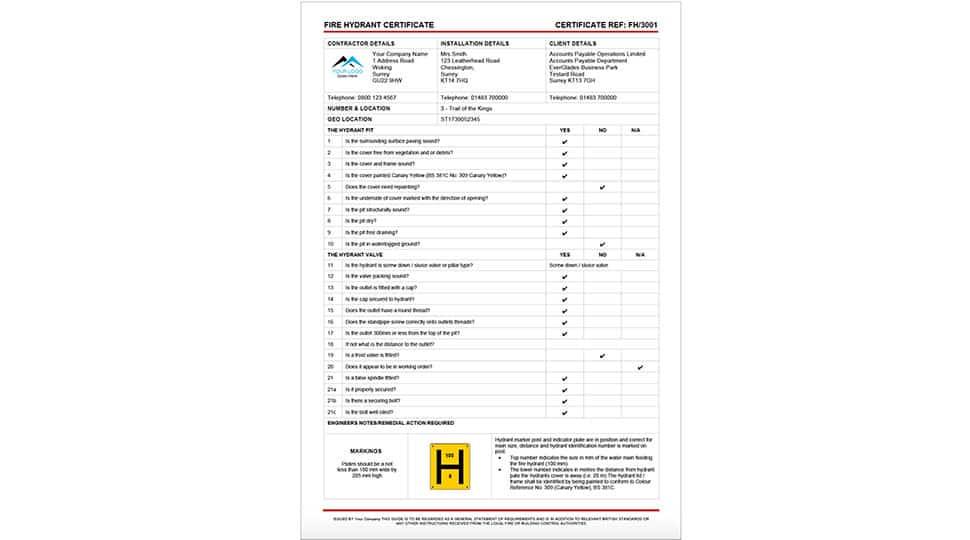Fire Hydrant Service Certificate