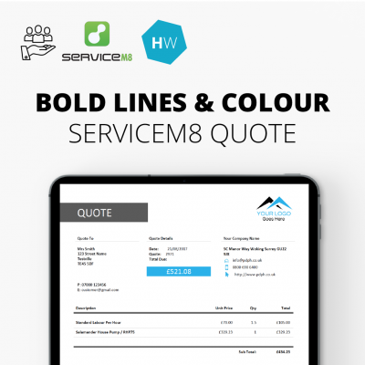 Bold lines and colour ServiceM8 quote