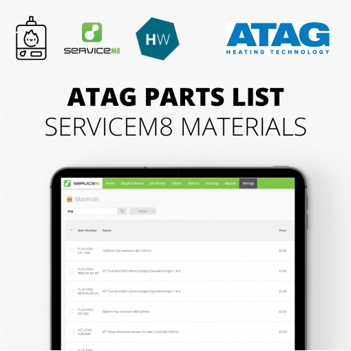 ATAG parts list for servicem8