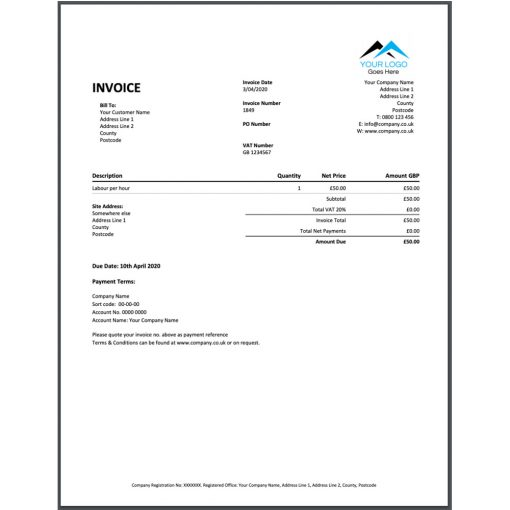 a xero style invoice template for ServiceM8