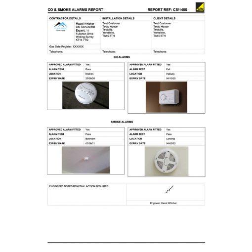 Carbon Monoxide and Smoke Alarms report form for ServiceM8