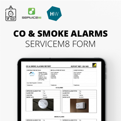 Carbon Monoxide and Smoke Alarms report form for ServiceM8