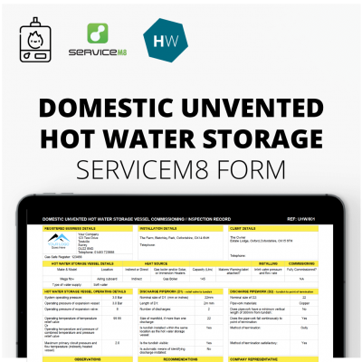 Domestic Unvented Hot Water Storage Inspection Record