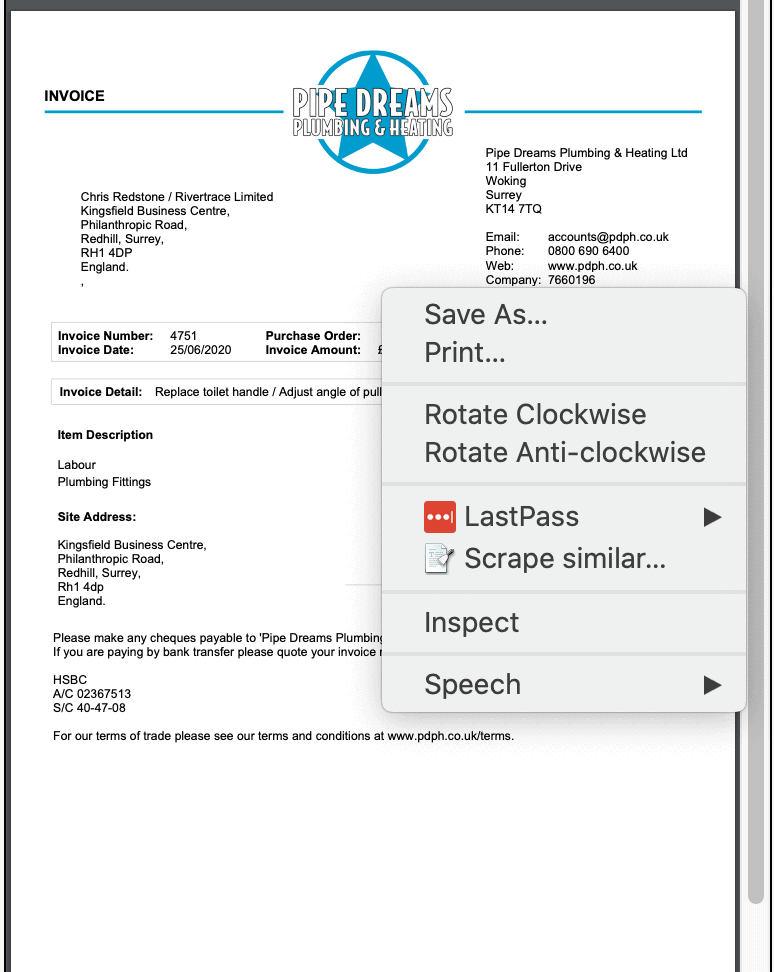 Print Preview of ServiceM8 template