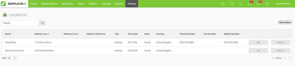 Dispatch Map Multiple Locations in ServiceM8 - Table