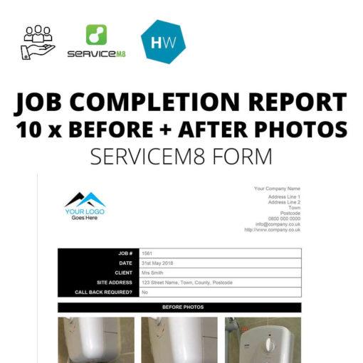 Job completion report form for ServiceM8